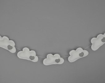 Cloud Mobile - Cloud garland - grey Nursery Decor -  Nursery wall art - Nursery garland - Nursery banner -Baby shower gift - clouds - Clouds
