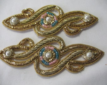 Beaded Paisley Applique  Gold and SILVER - 2 appliques