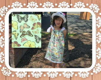 Whimsical Butterflies Mint Cotton Summer Retro Peasant Dress, Drawstring Shoulder Bow Sundress, Toddlers Girls