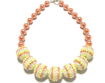 Toddler or Girls Candy Corn Chunky Necklace - Orange, Yellow and White Necklace - Spring Orange Necklace - Easter Yellow Chunky Necklace