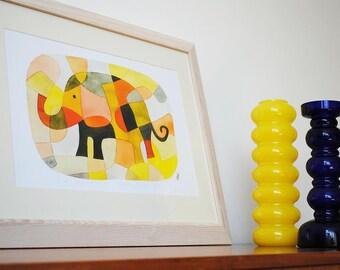 Elephant 1 - BIG Modern Art Print Nursery Art Print Mid Century Modern pink yellow mustard orange black 11 x 16