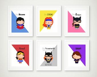 Superhero Print Set, Superhero Wall Art, Girls Room, Superhero Art, Supergirl Print, Batgirl, Wonder Woman, Superhero Poster, 8 by 10