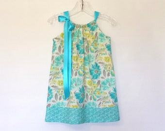 New! Girls Teal Floral Dress - Teal and Chartreuse Pillowcase Dress - Teal and Aqua on White - Size 12m, 18m, 2T, 3T, 4T, 5, 6, 8, or 10