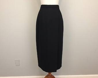 Black Skirt Wool Straight Skirt Minimalist Womens Wool Skirts Midi Size 8 Skirt Winter Skirts Work Skirt Medium Petite Womens Clothing