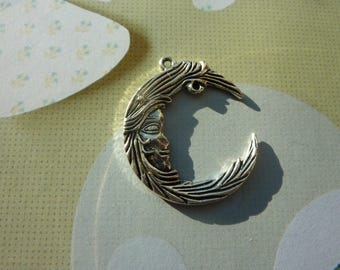 Large Moon metal silver 38x32mm pendant charm
