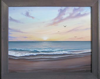 Original 16x20 Ocean Beach Seascape Painting on Canvas by J. Mandrick