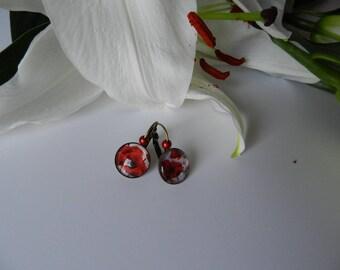 Lever back earrings, poppy red.