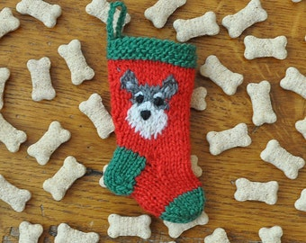 Schnauzer Hand-Knit Christmas Stocking Ornament