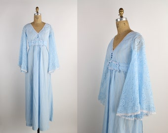70s Bell Sleeves Maxi Dress / Sky Blue Lace Dress / Angel sleeve Dress / Boho Maxi dress / Size S/M
