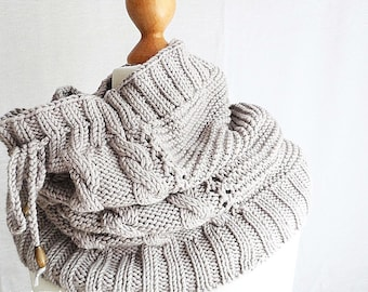 Knit cowl scarf - chunky cowl - winter gift for women - winter scarf - loop scarf - neck warmer - womens scarves