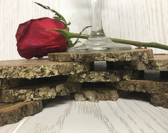 """SALE! 4""""-4.5""""diameter~ 1/4""""-1/2"""" Thick 50qty. Natural Wood Slice Circles, Centerpiece Displays, Weddings..."""