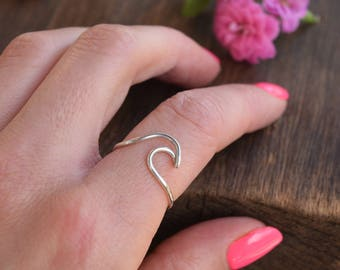 Wave Ring, Waves, Silver Ring, Ocean, Sea Ring, Minimalistic Ring, Welle Ring, Wellenring