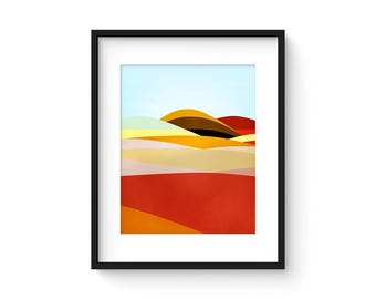 FOOTHILLS no.57 - Mid Century Style Modernist Abstract Landscape Print