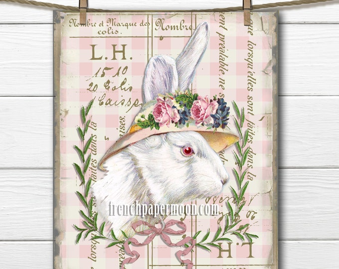 Adorable Shabby Bunny with Bonnet, Large French Graphic Transfer, Pillow Image, Easter Crafts, Springtime Rabbit