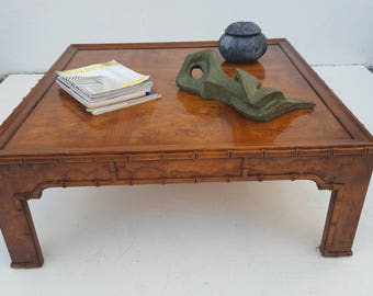 Heritage Faux Bamboo And Burl Wood Square Coffee Table