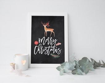 chalkboard christmas deer printable · vintage christmas · holiday print · deer printable · chalkboard christmas art · christmas decor sign
