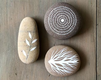 Circle of Life 4 - Painted Stones - Collection of 3 Pebbles with Nature Designs - by Natasha Newton