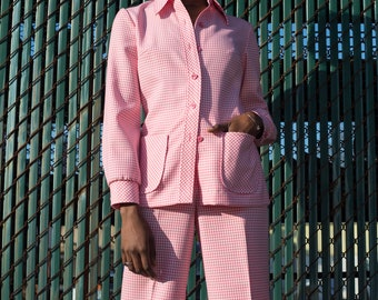 60s pink hounds tooth pant suit by The Villager | 4