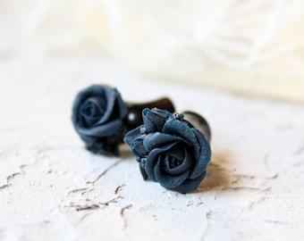 Flower ear plugs gauges Flower plugs and tunnels Plug earrings Flower gauge earrings Tribal plugs Dark blue ear gauges Cute plugs ear tunnel