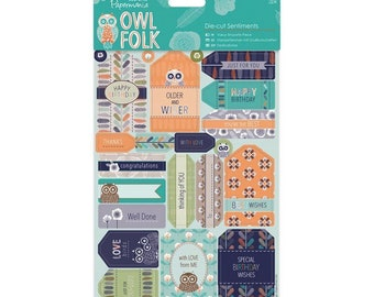 Docrafts papermania owl folk die cut sentiments