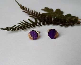 Wood Hand Painted Circle Stud Earrings in Purple and Gold (8mm diameter)