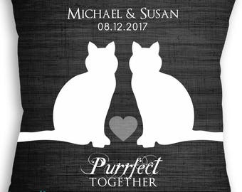 Cat Love - Custom Cat Lover Pillow - Wedding Date Name - Personalized Wedding Gift - Bridal Shower Gift - Engagement Present