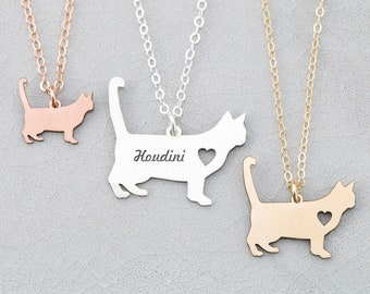 Kitty Necklace • Cat Jewelry Profile • Cat Silhouette • Personalized Cat Lover Gift • Sterling Silver Cat Charm Feline New Kitty