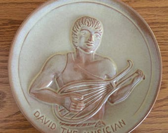 Frankoma Pottery Teenagers of the Bible 1974 David the Musician Collectible Plate Desert Gold Glaze