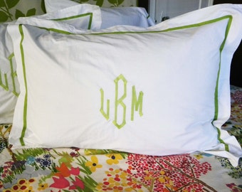 Monogram Standard Pillow Sham with Ribbon Trim / Monogram Bedding / Wedding Gift / Graduation Gift