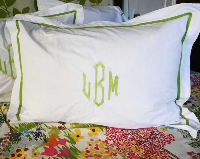Featured listing image: Monogram Standard Pillow Sham with Ribbon Trim / Monogram Bedding / Wedding Gift / Graduation Gift