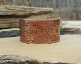 Copper Cuff Bracelet with Copper Etched Aztec Design