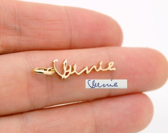 14K gold charm, Custom name charm with handwriting, Bridal Charm, Wedding Jewelry Gift For Her Mom Wife Anniversary Gift