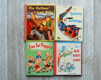 Tommy Caboose   The Blues Bird's Story A Little Book   Five Fat Piggies   The Outlaws' Last Ride   Whitman   Vintage Mini Books RARE