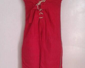 Vintage 1950's Red Cotton Canvas Football Pants Lace Up Removable Pads W 30 Sports Athletics Uniforms B7YBHYx7Z
