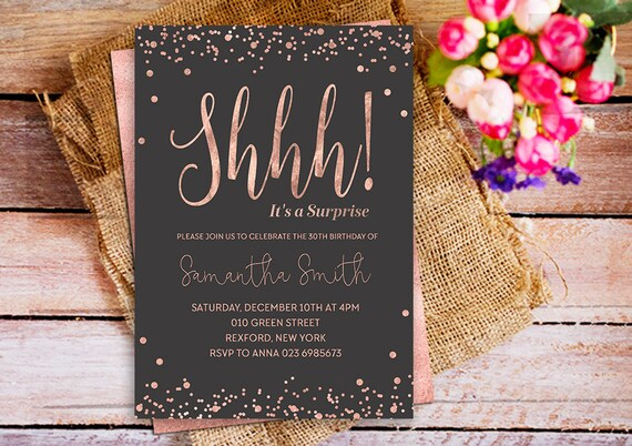 Shhh its a suprise party birthday invitation rose gold filmwisefo