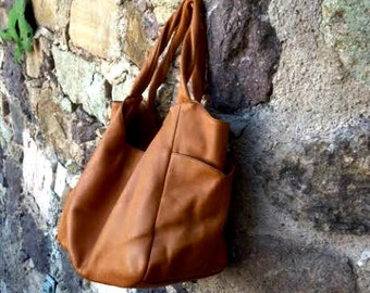 Camel Colored Hobo in Leather