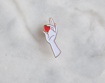 This Heart of Mine - Enamel Pin (Heart and Hand Pin, Red Heart, Love Pin, Cute Enamel Pin, Romantic Gesture, Gold Enamel Pin, Hand Pin)
