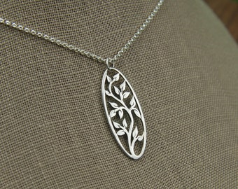 Oval sterling silver tree of life pendant necklace, oval pendant, tree necklace, family tree, silver tree pendant, nature, tree jewelry