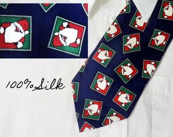 Christmas Santa tie - Santa necktie - Holiday tie -  Vintage Christmas tie - men's Santa necktie -   # T 5