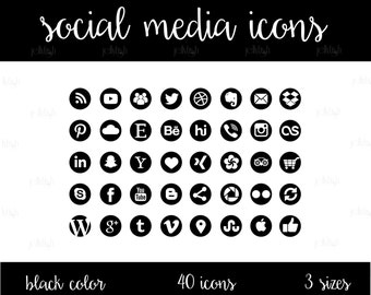 Social Media Icons Set Black Color Download