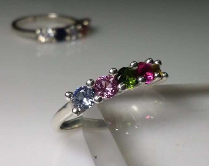 Mother's ring or Grandmother's ring with 5ea 4mm lab created birthstones. 2,3,4 and 5 stone rings are available in other listings.
