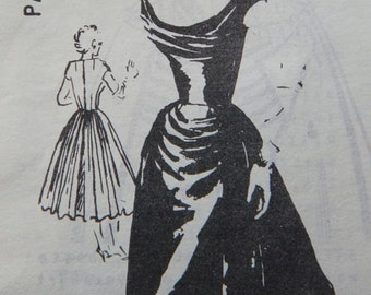 Vintage 50s Ceil Chapman Skylark SEXY Cocktail Draped Bodice Overskirt  Dress REPRO Sewing Pattern B34