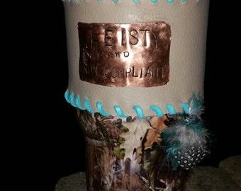 Leather personalized Cup wraps, Yeti, RTIC,SIC, Ozark mountain...30 oz.