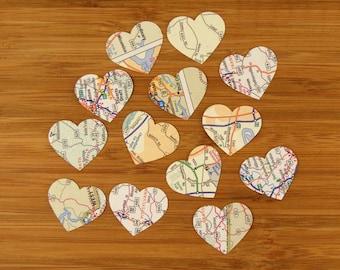 Map Heart Confetti, 100 Pieces, 1-inch, Travel Theme Decoration