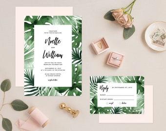 Editable Template - Instant Download Tropics Wedding Invitation & RSVP