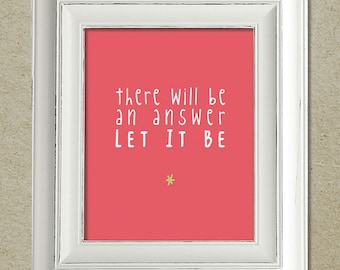 beatles art print / let it be lyrics / unframed
