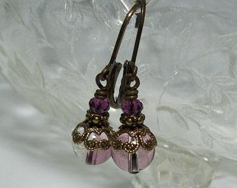 Swarovski Crystal Earrings. Small Dangle Earrings. Amethyst Crystal Earrings.