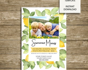 INSTANT DOWNLOAD - Watercolor Lemons Summer Mini Session Marketing 5x7 Photoshop Template