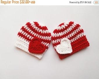ON SALE 15% SALE Baby Twins Hats - Newborn Twins - Crochet Striped Hats for Twins - Newborn Baby Photo Prop - Newborn Baby Twins