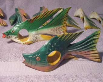 Vintage Wooden Tropical Fish-Shaped Napkin Holders  Hand Painted Wood Fish Napkin Holders   Green Yellow Red